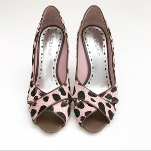 BCBGirls Pink And Black spotted faux fur heels